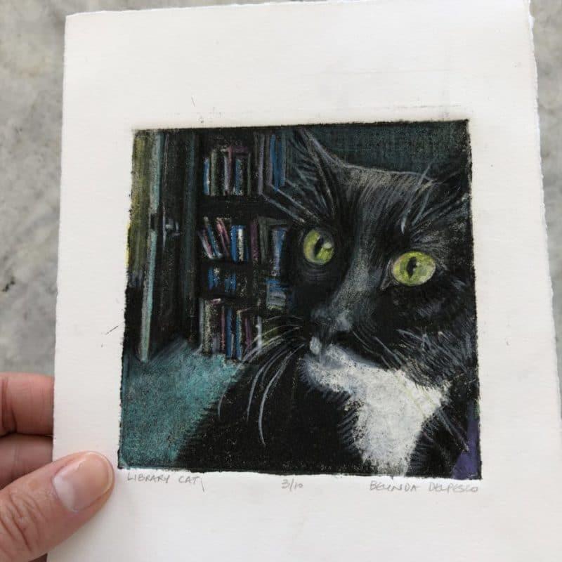 Silk Aquatint Portrait of a Cat