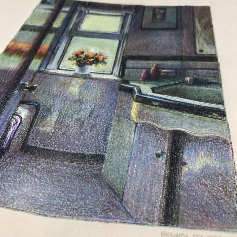 a monotype ghost print of a bathroom with a bouquet of flowers with colored pencil added