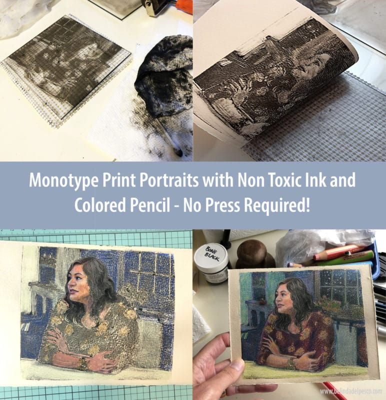 A series of process shots to show how to make a small monotype print portrait with non toxic ink and colored pencil. No press required.