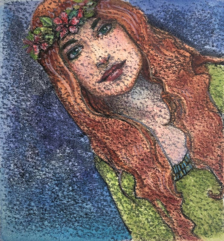 a trace monotype print painted with watercolor of a young woman with long red hair and a wreath of flowers in her hair