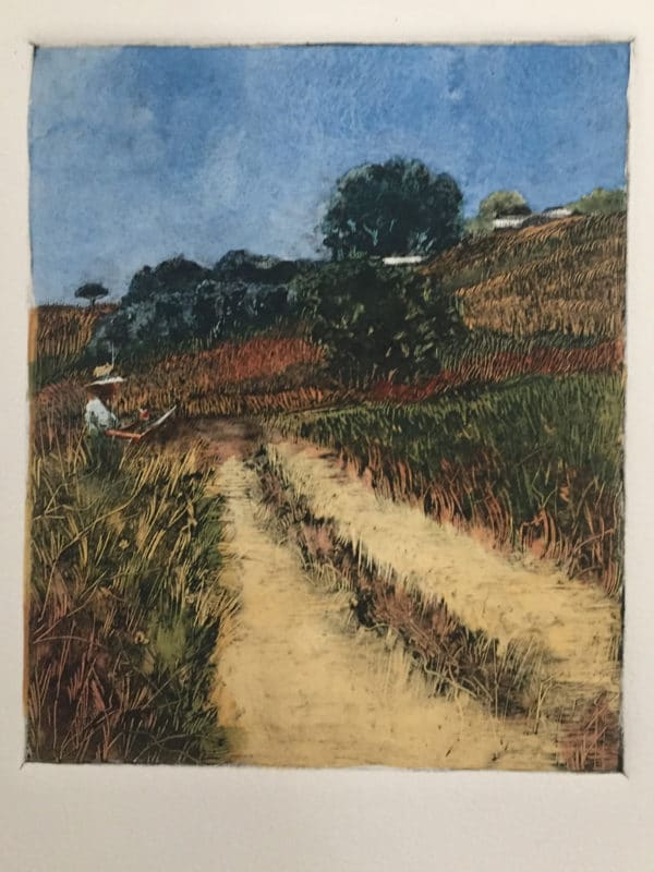 The same landscape monotype with a painter at her easel in the field, with transparent washes of watercolor over the ink