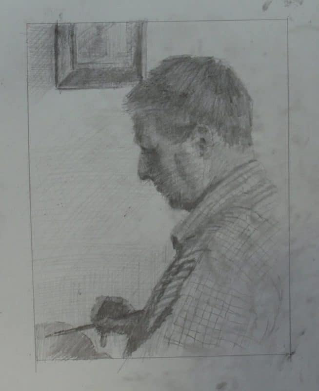 a man in profile, holding an artist's paintbrush, wearing a plaid shirt
