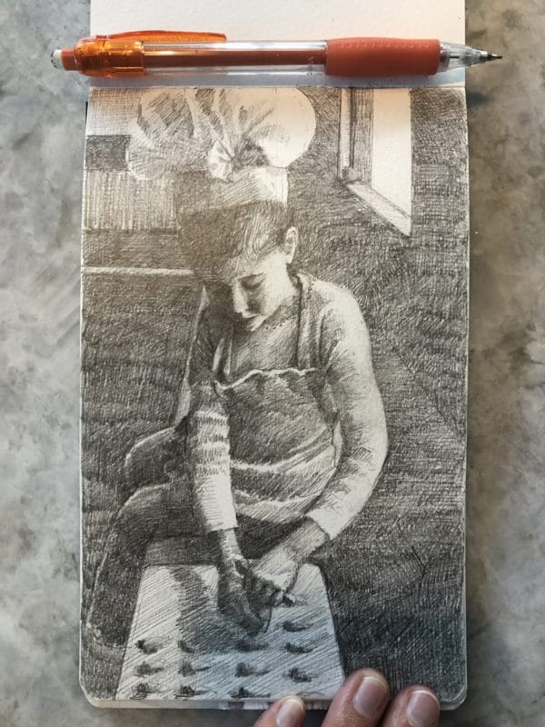 an open sketchpad with a pencil drawing of a little girl in a chef's hat and apron, making candy