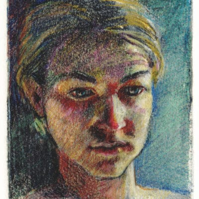 silk-aquatint of a young woman contemplating
