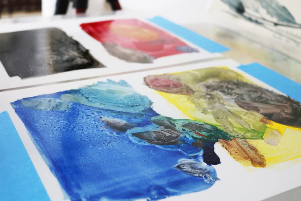making a color monotype with four colors of ink