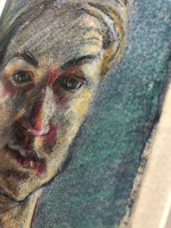 A small silk aquatint portrait, with colored pencil and watercolor