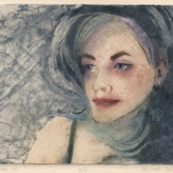 multicolor collagraph of a woman's face