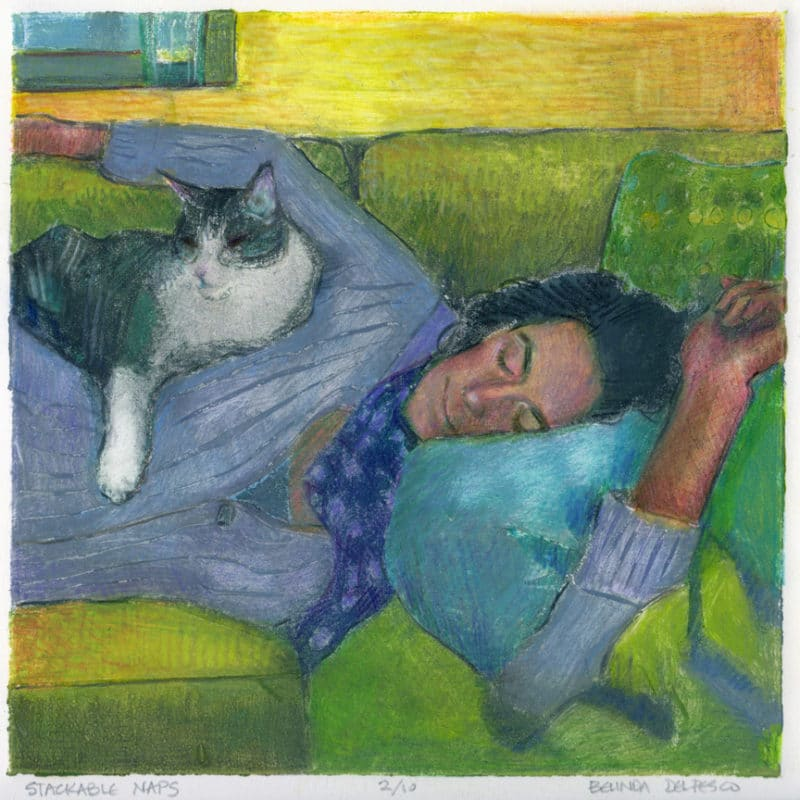 collagraph of a woman sleeping with a cat on her