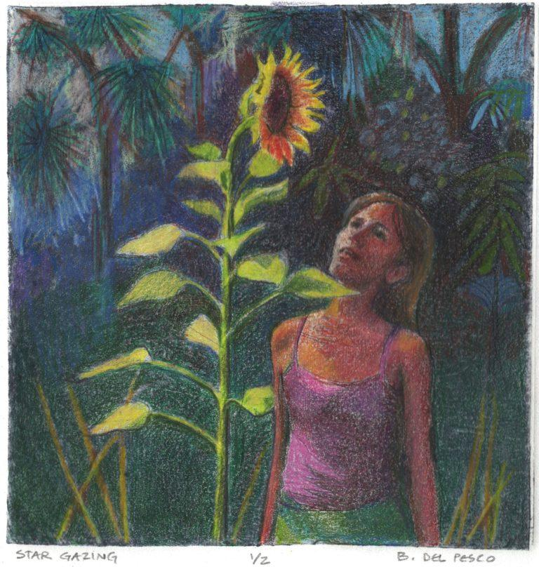 collagraph-print of a girl and a sunflower made from a recycled food carton