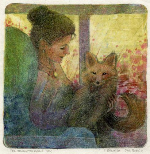 gelli print monotype with a girl holding a fox on her lap