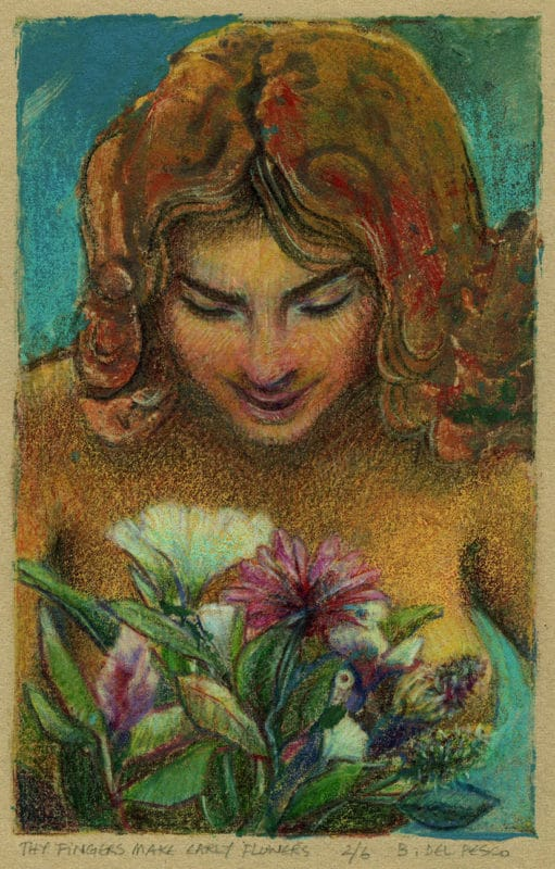 a glue collagraph print portrait of a nude woman looking down at a bouquet of flowers