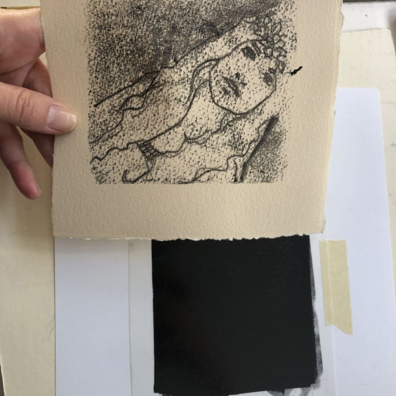 Looking at linear areas on the monotype - created with a ball point pen, and shaded areas, buffed with my fingertips