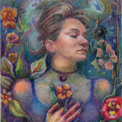 Ophelia woman floating peacefully in water with her eyes closed holding flowers in her hand