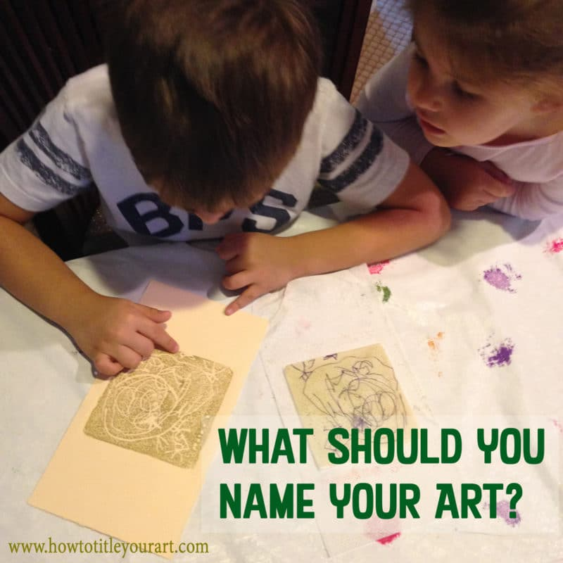 Two little kids point to a collagraph print, where the title should be